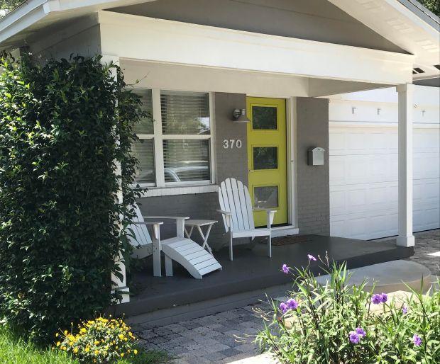 bungalow with chartreuse door